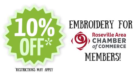 10% off Embroidery for Roseville Area Chamber of Commerce Members