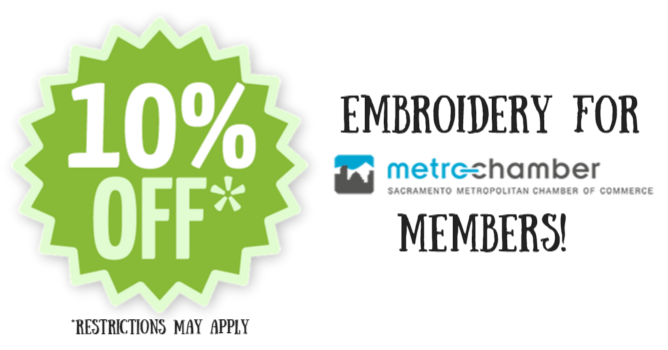 10% off Embroidery for Sacramento Metro Chamber of Commerce Members
